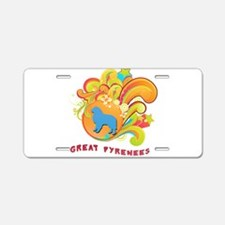 Groovy Great Pyrenees Aluminum License Plate