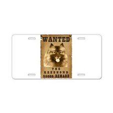 """Wanted"" Keeshond Aluminum License Plate"