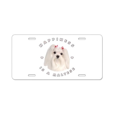 Happiness is a Maltese! Aluminum License Plate