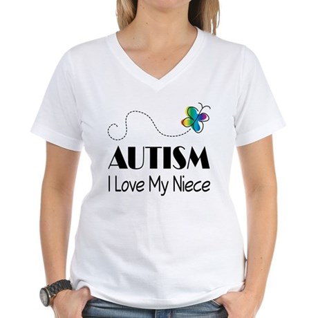 Autism I Love My Niece Women's V-Neck T-Shirt