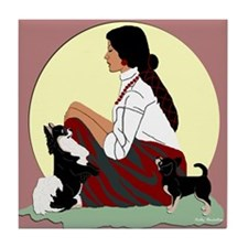 Chihuahuas Lady Moon in Red Tile Coaster