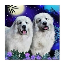 GREAT PYRENEES Dogs Moon Garden Tile Coaster