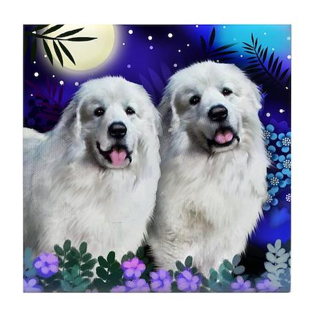 GREAT PYRENEES Dogs Moon Garden Tile Coaster