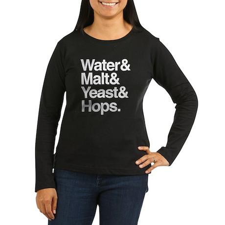 Water & Malt Women's Long Sleeve Dark T-Shirt