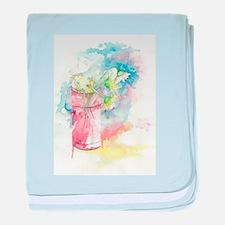 Watercolored Flower baby blanket