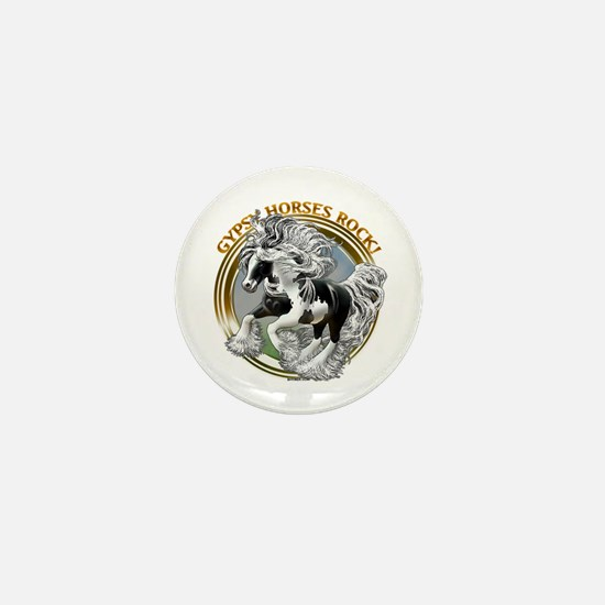 Gypsy Horses Rock Mini Button