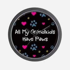 All My Grandkids Have Paws Wall Clock