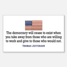 Quote Democracy Sticker (Rectangle)
