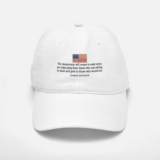 Quote Democracy Baseball Baseball Cap