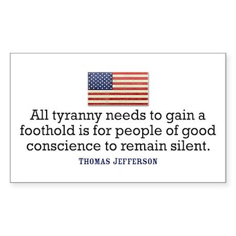 Jefferson Quote on Tyranny Sticker (Rectangle)