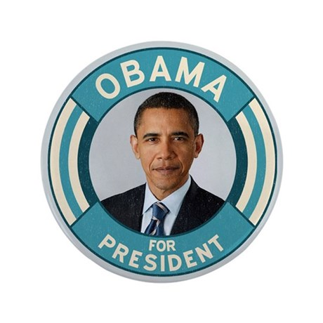"""Blue Obama for President 3.5"""" Button"""