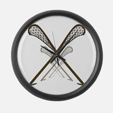 Traditional Lacrosse Sticks Large Wall Clock