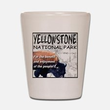 YNP Bison and Map Shot Glass