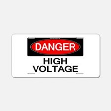 Danger! High Voltage Aluminum License Plate