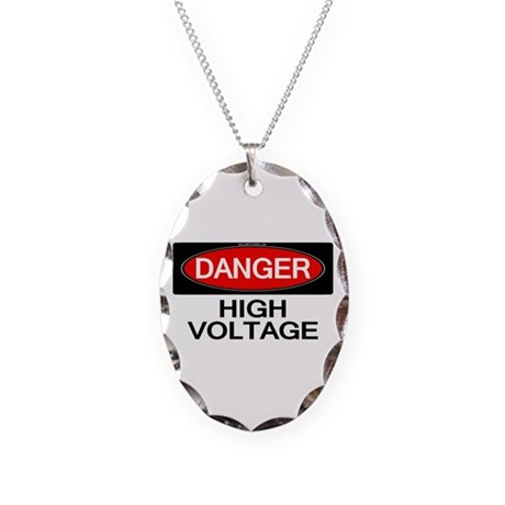 Danger! High Voltage Necklace Oval Charm