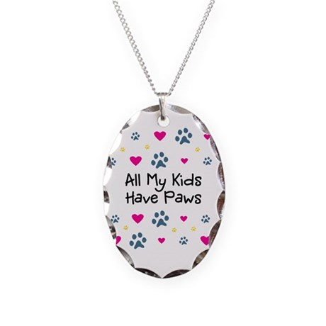 All My Kids/Children Have Paws Necklace Oval Charm