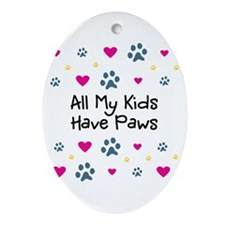 All My Kids/Children Have Paws Ornament (Oval)