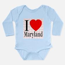 I Love Maryland Long Sleeve Infant Bodysuit