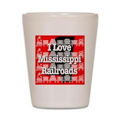 I Love Mississippi Railroads Shot Glass