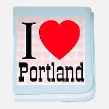 I Love Portland baby blanket