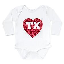 TX Heart New Long Sleeve Infant Bodysuit