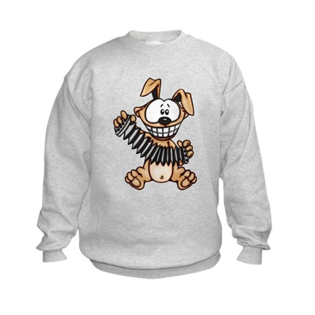 Cartoon Dog Playing Accordion Kids Sweatshirt