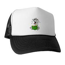 Cartoon Dog Reading Book Trucker Hat