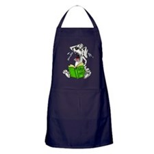 Cartoon Dog Reading Book Apron (dark)