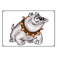 Happy Cartoon Bulldog Banner