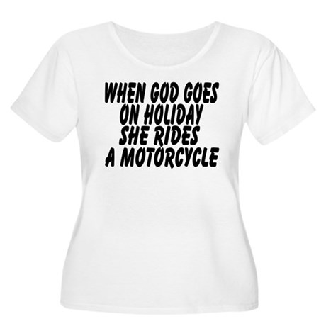 God rides a motorcycle Women's Plus Size Scoop Nec