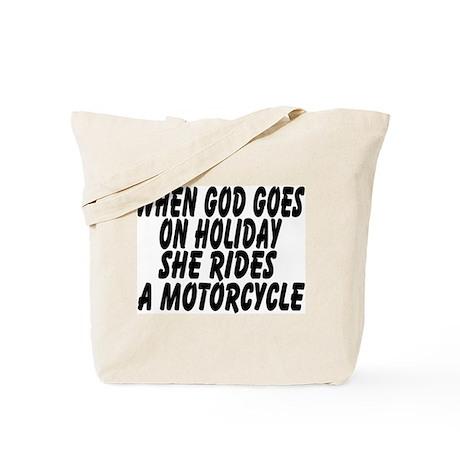 God rides a motorcycle Tote Bag