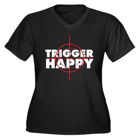 trigger happy Women's Plus Size V-Neck Dark T-Shir