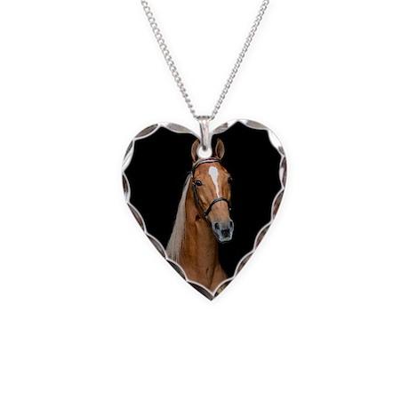 Sorrel Horse Necklace Heart Charm