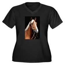 Chestnut Horse Women's Plus Size V-Neck Dark T-Shi