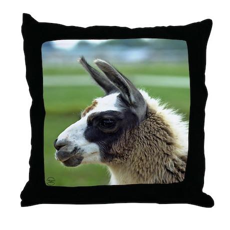 Patchwork Brown Llama Throw Pillow
