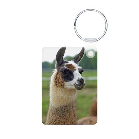 Spotted Llama Aluminum Photo Keychain