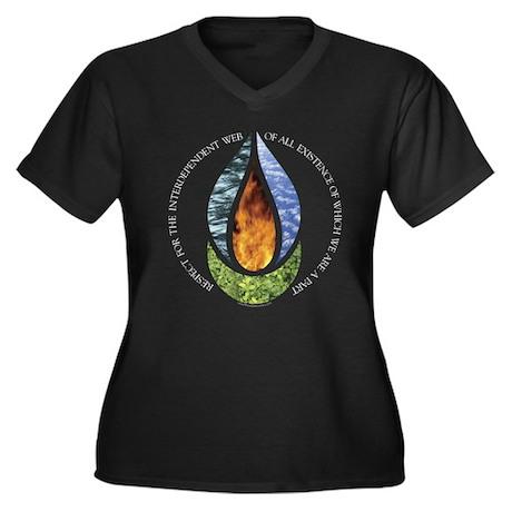 7th Principle Women's Plus Size V-Neck Dark T-Shir