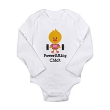 Powerlifting Chick Long Sleeve Infant Bodysuit