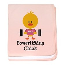 Powerlifting Chick baby blanket