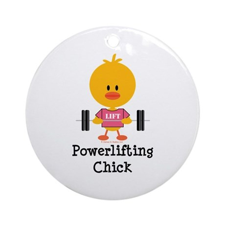 Powerlifting Chick Ornament (Round)