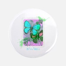 """NIPPON JAPANESE BUTTERFLY STAMP 3.5"""" Button"""