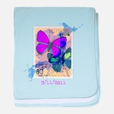 JAPANESE VINTAGE BUTTERFLY STAMP baby blanket