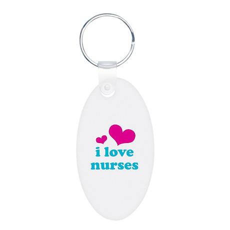 I Love Nurses Aluminum Oval Keychain