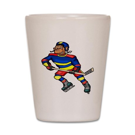 Monkey Hockey Player Shot Glass