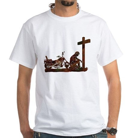 Biker at Cross White T-Shirt