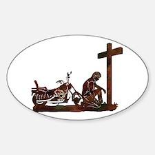 Biker at Cross Sticker (Oval)