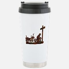 Biker at Cross Stainless Steel Travel Mug
