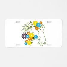 flower bunny Aluminum License Plate