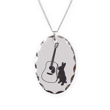 bunny & guitar Necklace Oval Charm