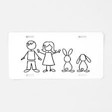 2 bunnies family Aluminum License Plate